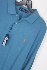 New Ralph Lauren Polo long sleeve mesh polo shirt Large Blue #1199