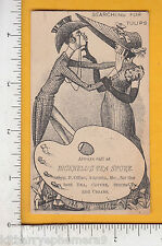 8237 Bicknell Store trade card Augusta, ME woman & Dude kiss hats, play on words
