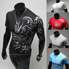 Mens Slim Fit V-neck T-shirt Short Sleeve Muscle Tee Size M~3XL