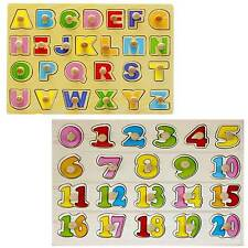 0-20 & Alphabet Wooden Number Puzzle Board for kids, Learning Educational Toys
