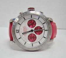COACH WOMEN'S HOT PINK LEATHER BAND LEGACY CHRONOGRAPH MULTIFUNCTION WATCH