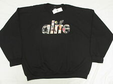 $88 NWT Mens Alife Wall Crewneck Sweatshirt Black Embroidered Urban XXL 2XL L924