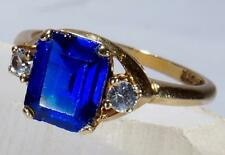 Vintage Emerald Shaped Blue Sapphire Ring 10k Circa 60's to 70's Size 6