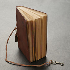 Hot Leather Cover Blank Diary Journal Memo  With Strip Key Decor New Dark Coffee