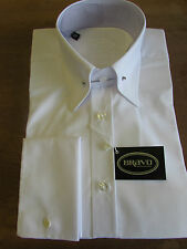BRAVO MENS WHITE POINTED COLLAR PIN SHIRT WITH DOUBLE CUFF