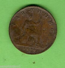 #D272. 1874   BRITISH  QUEEN VICTORIA BRONZE  FARTHING   COIN