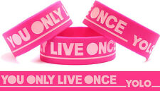 PINK YOLO Wristband YOU ONLY LIVE ONCE Motto Inspired Music Theme Wrist Bracelet