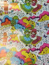 Vintage Wrapping Paper Gift Wrap Psychedelic Rainbow Cat Bonnet Girls - 2 yards