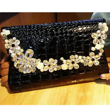 Lady Diamond Bling Black Crocodile Handbag Purse Party Club Wedding Clutch Bag