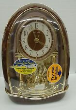 RHYTHM MANTEL CLOCK: CLASSIC NIGHTINGALE 4RH781SWAROVSKI ELEMENTS  16 MELODIES
