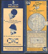 CARTE ROUTIERE MICHELIN BIBENDUM ANGERS ORLEANS N° 64 DE 1950