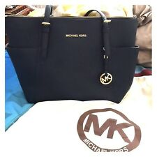 Michael Kors Jet Set Top Zip Tote Bag (Black)