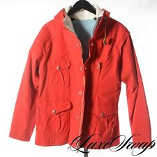 LNWOT Monitaly Red Duck Canvas Leather Patch Mountain Parka Hooded Coat 38 NR