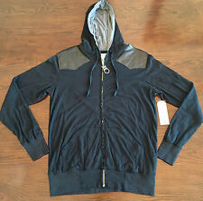 Kinetix Zip Hoodie in Black with Leather patches  Mens size L NWT
