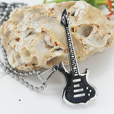 Cool Black Electric Guitar Pendant Men's Necklace/boy's Necklace Stainless Steel