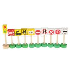 Colorful Wooden Street Traffic Signs Kids Children Educational Toy Set Gift