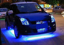 Undercar Underbody Glow 4 Piece Car LED Neon Light Kit BLUE Under Car Strip