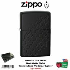 Zippo Armor Tire Tread Lighter, Black Matte, Deep Carve Design #28966