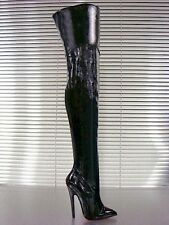 GIANRICO MORI BLACK 100% LEATHER PATENT HIGH HEELS STILETTO CROTCH THIGH BOOTS