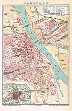 Warschau 1907 - Zitadelle - Weichsel - Judenviertel -  Warsaw ancient city map