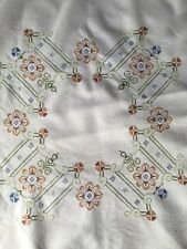 BEAUTIFUL Antique linen Cross Stitch tablecloth hand embroidered VTG Fabric
