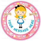 ND3 Alice in wonderland birthday personalised round cake topper edible icing