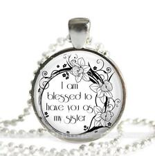 """Sister Gift Pendant or Charm 1"""" Round Setting Love Family Blessed Floral Ring"""