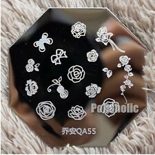 Nail Art Stamp Template Image Stamping Plate Rose Flower Bowknot Design QA55