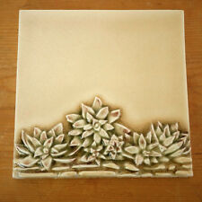 Vintage PRATT LARSON Crysthanamum Lotus Flower Art Deco Cream Crackle Tile 6x6