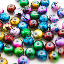 100pcs Wholesale Mix Artistic Metallic Design Lampwork Glass Round Beads 8mm