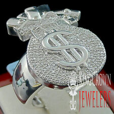 New Mens Real Genuine Diamond Money Bag $ Sign Pinky Ring Band White Gold Finish