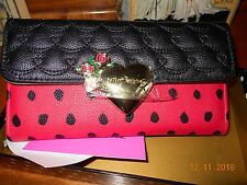 BETSEY JOHNSON RED FLAP OVER  HEART SNAP WALLET NEW NEW NEW IN BOX