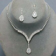 Alloy Silver Plated Crystal Necklace, Earrings Bridal Wedding Jewelry Set Gift