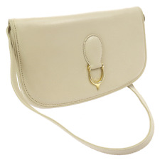 Auth GUCCI Logos Shoulder Bag Ivory Leather Italy Vintage Italy Old Type V07911