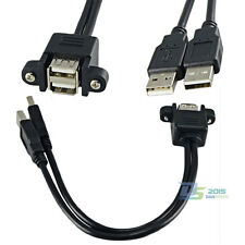 25cm Dual USB 2.0 A Female Panel Mount to 2 USB A Male Plug Extension Data Cable
