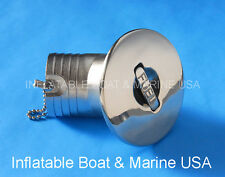 "Boat Deck Fill Filler Cap Keyless Angled -  2"" -Fuel Gas Marine Stainless Steel"