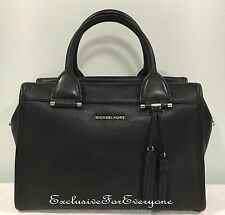 NWT Michael Kors Geneva Large Satchel Leather Black Handbag $378