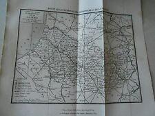 Gravure sur acier 1838 - Carte routière du dpt du Pas de Calais