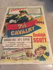 ORIGINAL ONE SHEET 27 X41 VINTAGE POSTER  FOLDED 7TH CAVALRY RANDOLPH SCOTT