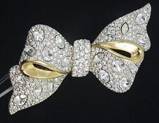 LARGE FULL PAVE BOW SWAN LOGO MADE WITH SWAROVSKI CRYSTAL PIN BROOCH ~ 2.5""