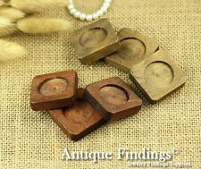 4pcs 25mm Antique Wooden Wood Cameo Base Setting / Tray HW701