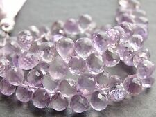 "QUALITY HAND FACETED PINK AMETHYST BRIOLETTES, approx 5x7mm, 8"", 78 beads"