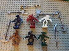 Lego Minifig ~ Mixed Lot Of 6 Mini Bionicle Figures w/Weapons #cvbfgh