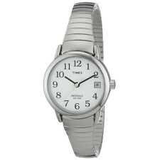 Ladies Timex Indiglo Silver Stretch Expansion White Dial Date Watch T2H371