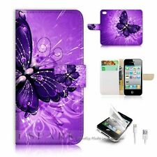 iPhone 5 5S Flip Wallet Case Cover! S8184 Purple Butterfly