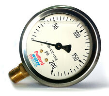 "200 Psi Liquid Filled Pressure Gauge 2-1/2"" - 1/4"" NPT Pollard Water"