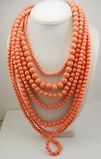 Joan Rivers Multi Strand Faux Pearl Necklace (coral color)(w/J R romance card)