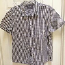 Calvin Klein Jeans Men's 2XL Black & White Check Button Front Short Sleeve Shirt