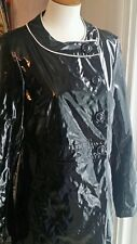 Tahari Rain Coat M Black PVC Vinyl Raincoat Trench Shiny Wet Look Long Jacket