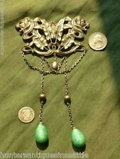 Beautiful Large Art Nouveau Double Lion Head Brooch W/ Green Glass Dangles FN&C